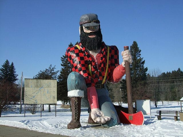 Statue of Paul Bunyan in Akeley, MN