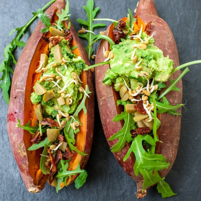 substitute potatoes for sweet potatoes or yams and top with other vegetables