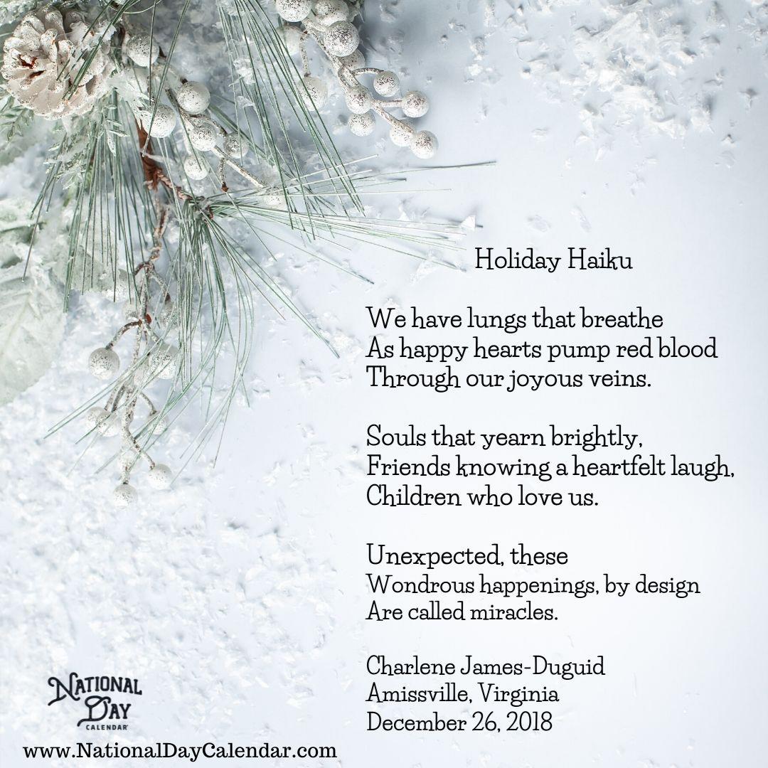 Holiday Haiku - Charlene James Druid