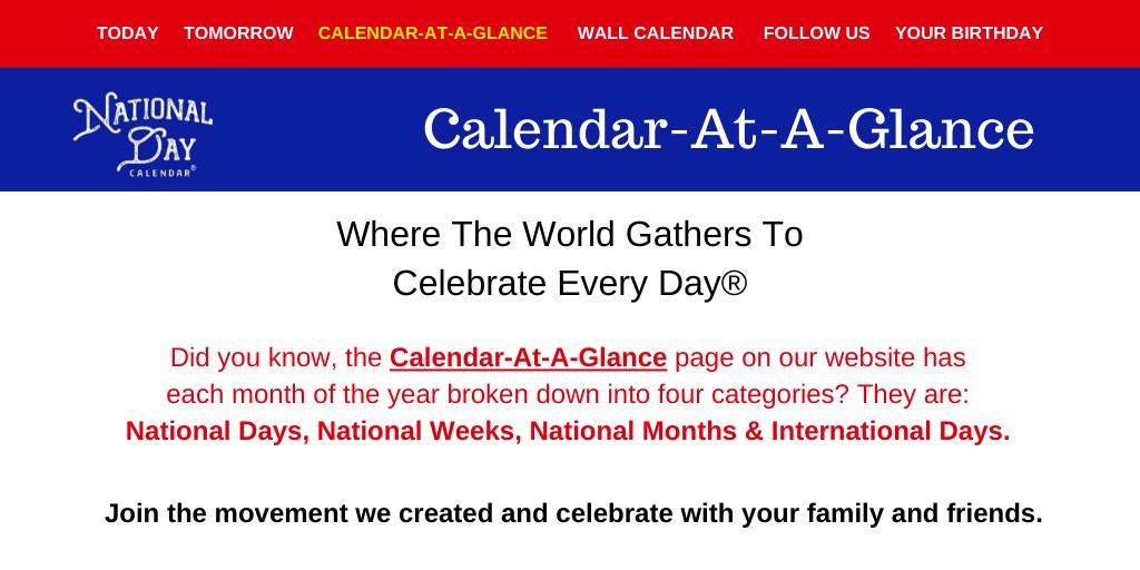 National Day Calendar 2021 Calendar at a Glance   National Day Calendar
