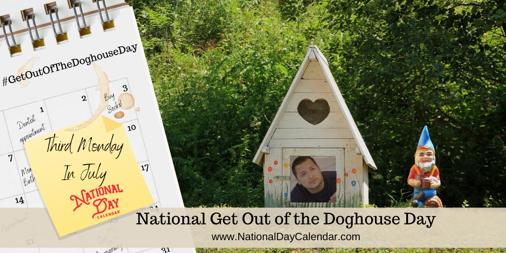 NATIONAL GET OUT OF THE DOGHOUSE DAY – Third Monday in July