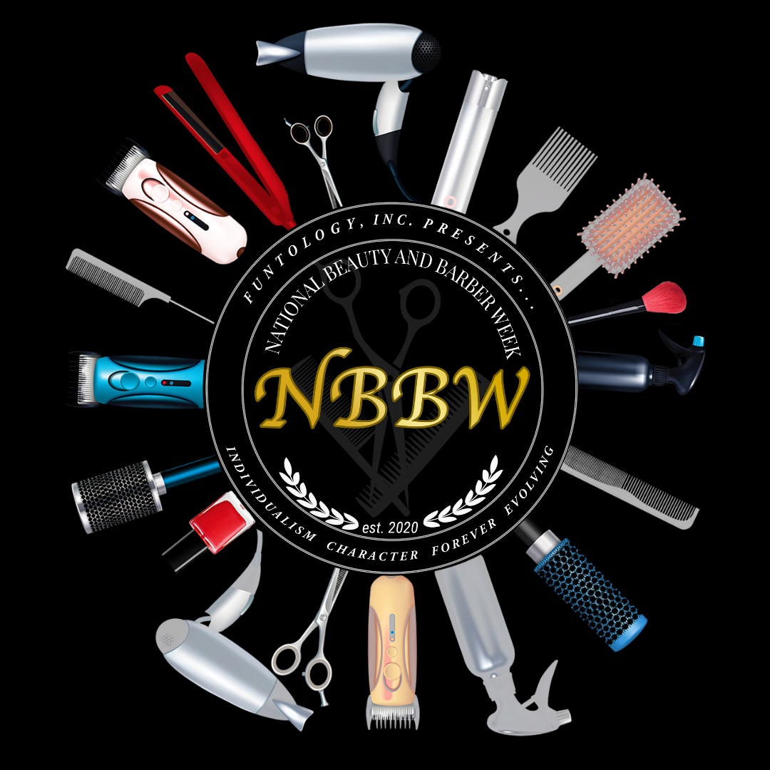 National Beauty and Barber Week Logo with Tools black bkgd2